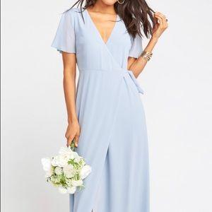 Noelle Flutter Wrap Dress in steel blue